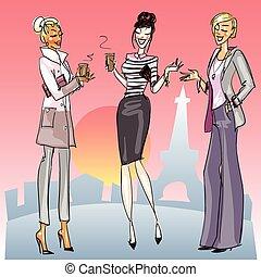 mujeres jóvenes, con, café, charlar, en, un, calle.