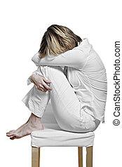 mujeres jóvenes, con, el, apagarse, síndrome