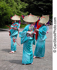 mujeres, japonés, grupo