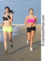 mujeres, jogging, en, un, playa