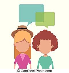 mujeres, juntos, hablar, imagen