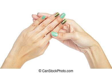 mujeres, manos, con, clavo, manicura