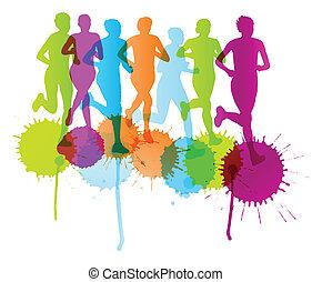 mujeres, maratón, ganador, fin, vector, plano de fondo, y,...