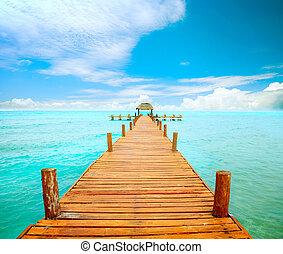 mujeres, meksyk, molo, concept., spędza urlop, isla, turystyka
