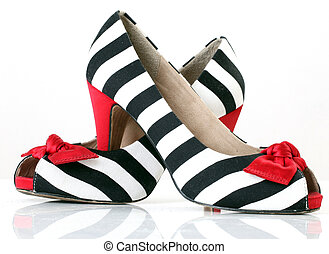 mujeres, moda, shoes., zebra, pattern., rojo, tacón