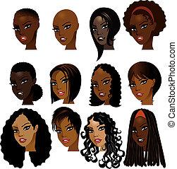 mujeres, negro, caras