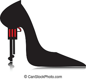 mujeres, pistol.vector, shoes