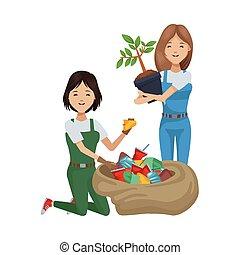 mujeres, plantación, ambientalista, reciclaje