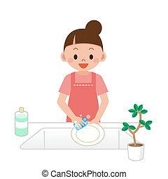 mujeres, platos, lavado