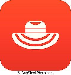 mujeres playa, sombrero, icono, digital, rojo