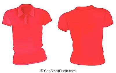 mujeres, rojo, camisas del polo, plantilla