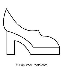 mujeres, shoes, icono, contorno, estilo