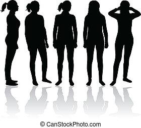 mujeres, silueta