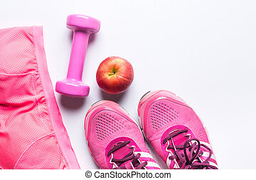 mujeres, sostén deportivo, mercancía, dumbbell, y, apple., condición física, uso, y, equipment., deporte, moda, deporte, accesorios, deporte, equipment., para, sano, concept.