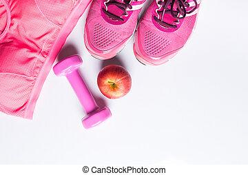 mujeres, sostén deportivo, mercancía, dumbbell, y, apple., condición física, uso, y, equipment., deporte, moda, deporte, accesorios, deporte, equipment., para, sano, concepto