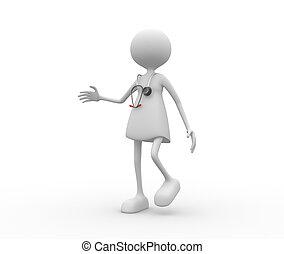 mujeres, stethoscope., doctor