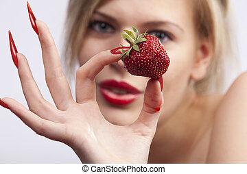 mujeres, tenencia, solo, fresa