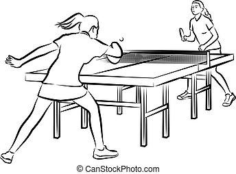 mujeres, tenis de mesa, -, mujer, en acción