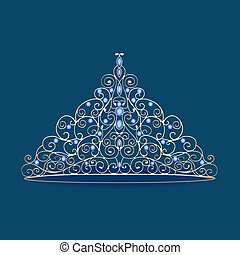 mujeres, tiara, corona, boda, con, azul, piedras, en, un, azul