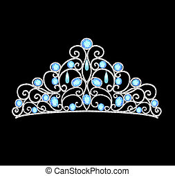 mujeres, tiara, corona, boda, con, azul, piedras, y, perlas