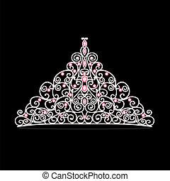 mujeres, tiara, corona, boda, con, rosa, piedras