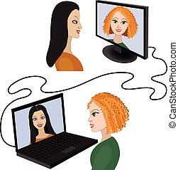 mujeres, vídeo, dos, charla, teniendo