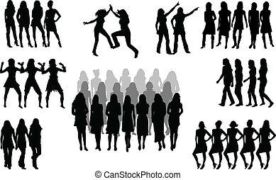 mujeres, -, vector, grupo, grande, silueta