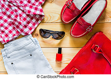 mujeres, verano, piso, conjunto, ropa