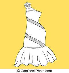 mujeres, vestido, design., moda