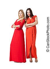 mujeres, vestido, dos, largo, rojo