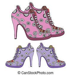 mujeres, zapatos de taco alto, vector