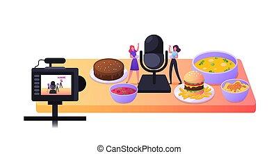 Mukbang Broadcasting. Tiny Female Characters Tasting Various...