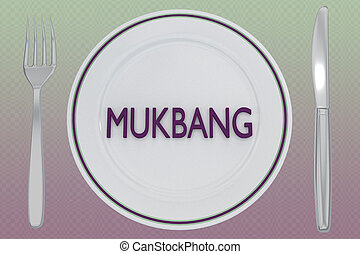 MUKBANG - internet concept - 3D illustration of MUKBANG ...