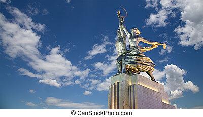 mukhina, kvinna, kolkhoznitsa, kollektiv, kolkhoz, arbetare,...