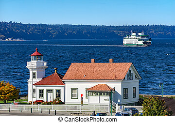 mukilteo, 灯台, whidbey の 島, フェリー, puget 音, ワシントン州