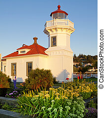 mukilteo, blanc, phare, bâtiment, pendant, sunset.