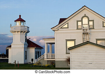 Historic lighthouse by the ferry terminal in Mukilteo, Washington state