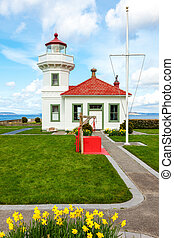 Mukilteo Lighthouse With blooming daffodils