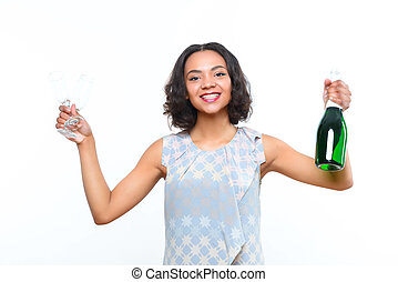 Mulatto girl with champagne and glass