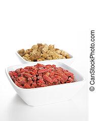 mulberries, goji, beeren, schüsseln