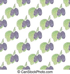 Mulberries. Seamless pattern with berries. Hand-drawn background. Vector illustration.