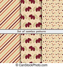 mulberry, a set of seamless patterns, striped background,...