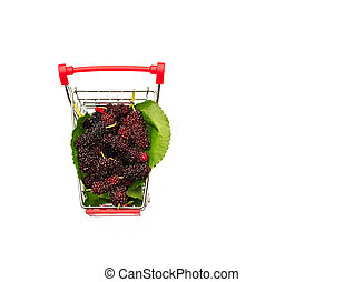 Mulberry fruit in shopping Cart on white background.