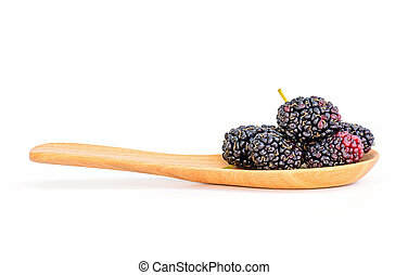 Mulberry in wooden spoon isolated on white background