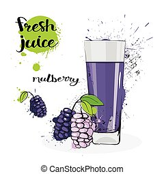 Mulberry Juice Fresh Hand Drawn Watercolor Fruits And Glass...