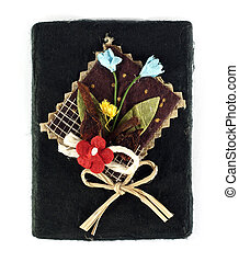 Mulberry Paper Black Box with Artificial flower Hand made.