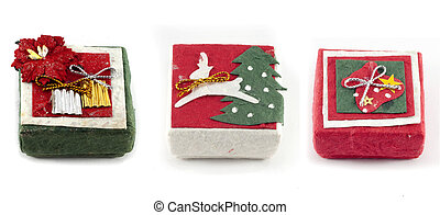 Mulberry Paper Christmas gift box with Hand made.