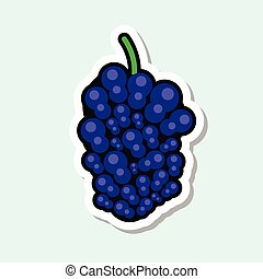 Mulberry Sticker On Blue Background Colorful Fruit Icon -...
