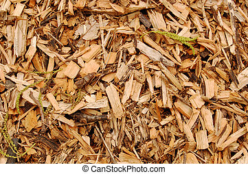 Mulch close-up - Close up of mulch with brown woodchips