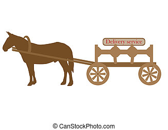 Mule and cart - Vector logo of the company carrying out...